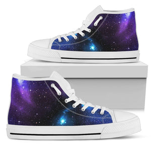 Dark Purple Blue Galaxy Space Print Women's High Top Shoes GearFrost