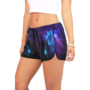 Dark Purple Blue Galaxy Space Print Women's Shorts GearFrost