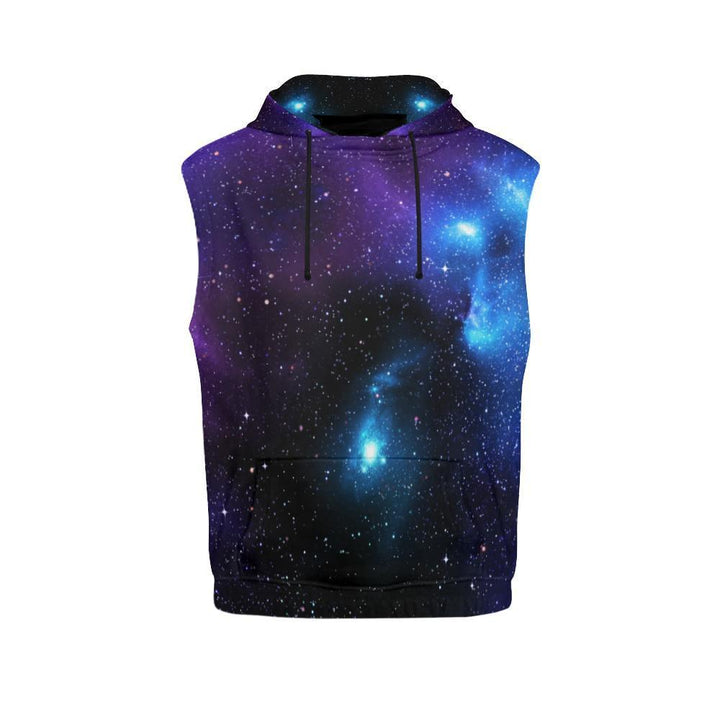 Dark Purple Blue Galaxy Space Print Women's Sleeveless Hoodie GearFrost