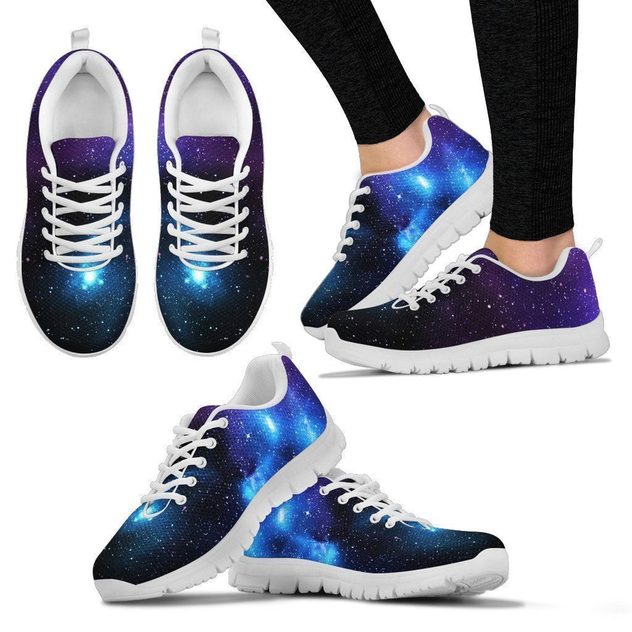 Dark Purple Blue Galaxy Space Print Women's Sneakers GearFrost