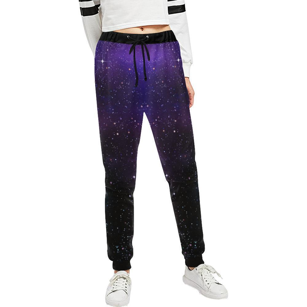 Dark Purple Blue Galaxy Space Print Women's Sweatpants GearFrost