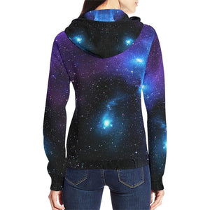 Dark Purple Blue Galaxy Space Print Women's Zip Up Hoodie GearFrost
