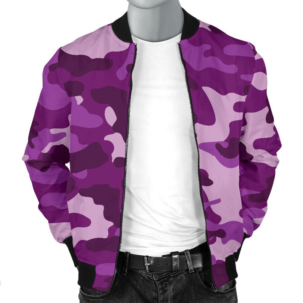 Dark Purple Camouflage Print Men's Bomber Jacket GearFrost