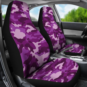 Dark Purple Camouflage Print Universal Fit Car Seat Covers GearFrost