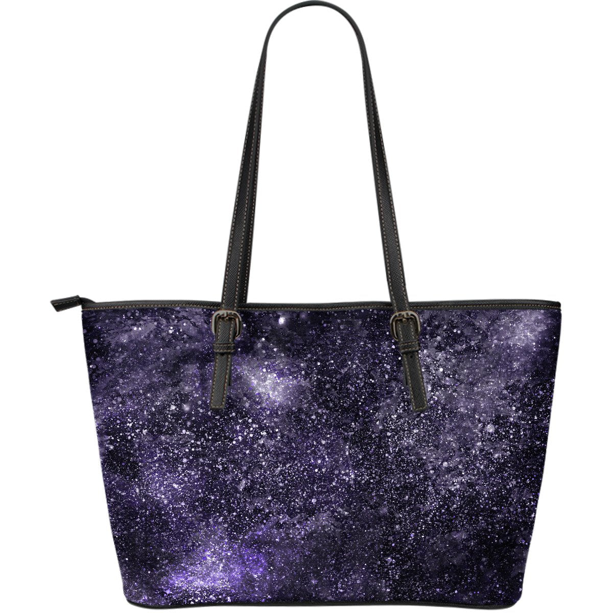 Dark Purple Cosmos Galaxy Space Print Leather Tote Bag GearFrost