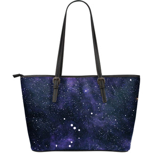 Dark Purple Galaxy Outer Space Print Leather Tote Bag GearFrost