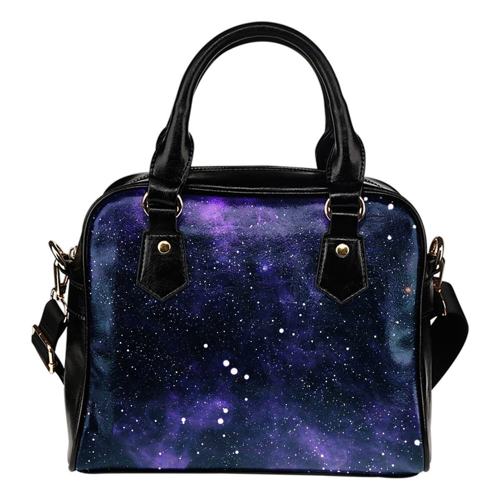 Dark Purple Galaxy Outer Space Print Shoulder Handbag GearFrost