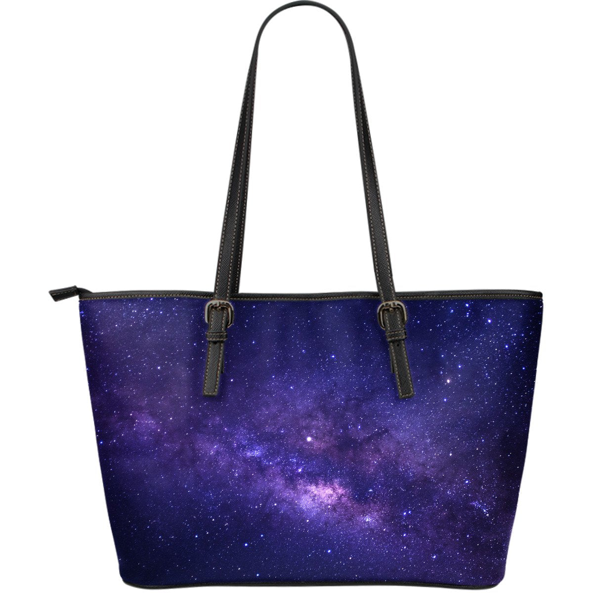 Dark Purple Milky Way Galaxy Space Print Leather Tote Bag GearFrost