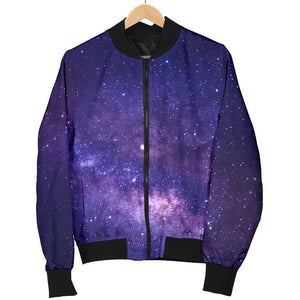 Dark Purple Milky Way Galaxy Space Print Men's Bomber Jacket GearFrost