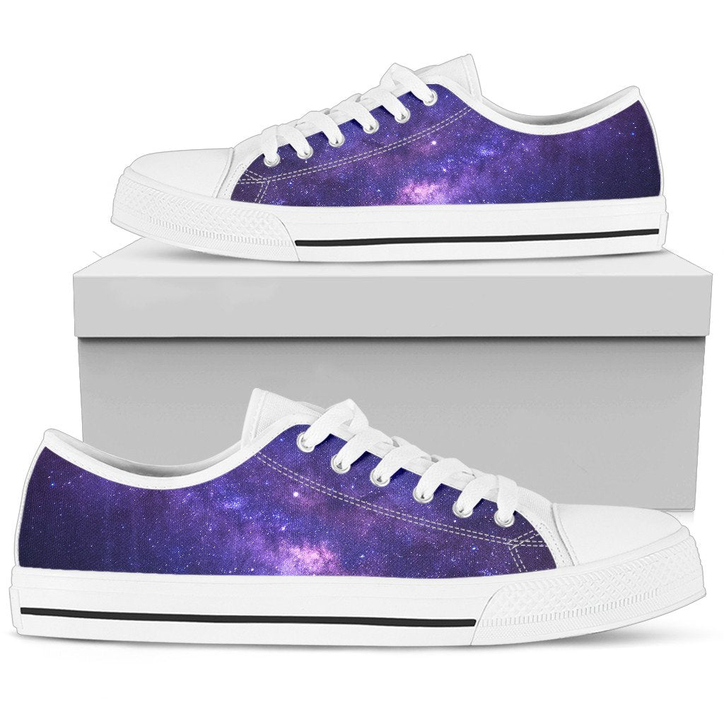 Dark Purple Milky Way Galaxy Space Print Men's Low Top Shoes GearFrost