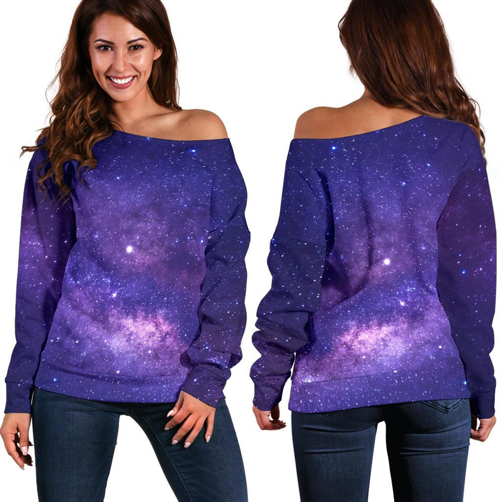 Dark Purple Milky Way Galaxy Space Print Off Shoulder Sweatshirt GearFrost