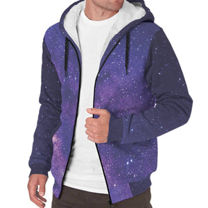 Dark Purple Milky Way Galaxy Space Print Sherpa Lined Fleece Hoodie GearFrost