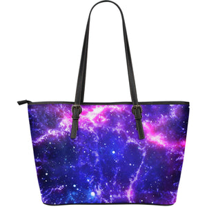 Dark Purple Universe Galaxy Space Print Leather Tote Bag GearFrost