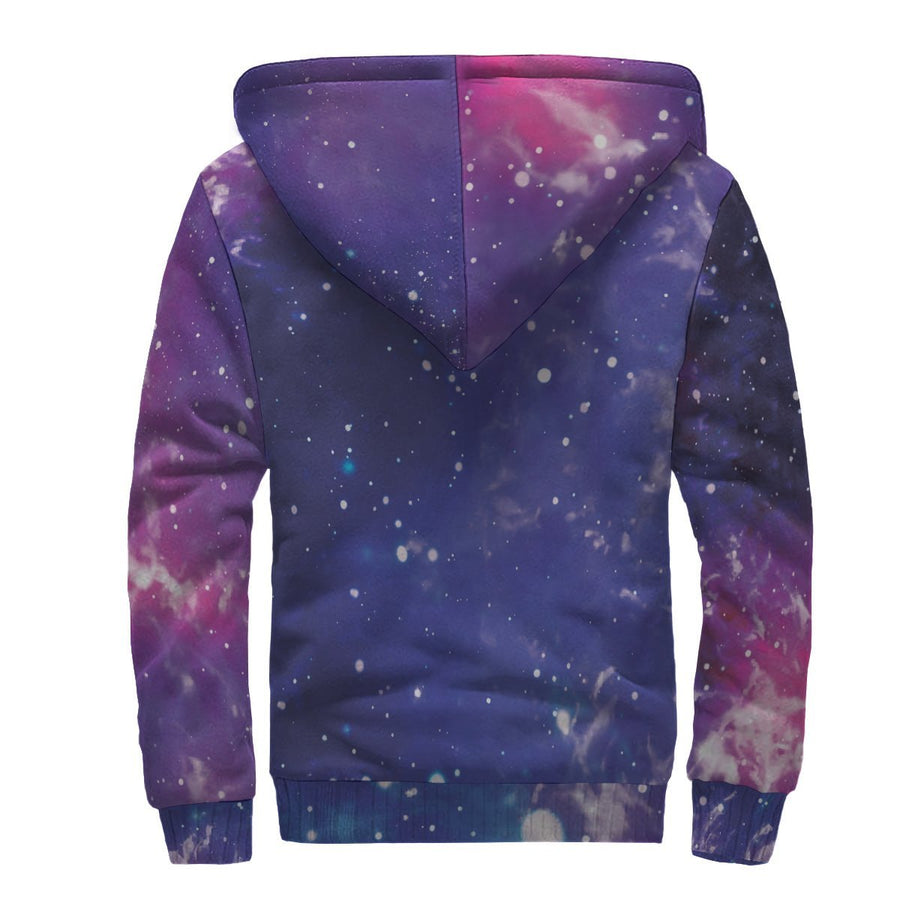 Dark Purple Universe Galaxy Space Print Sherpa Lined Fleece Hoodie GearFrost