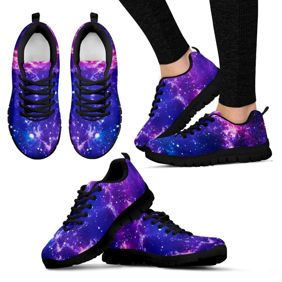 Dark Purple Universe Galaxy Space Print Women's Sneakers GearFrost