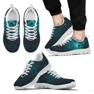 Dark Teal Galaxy Space Print Men's Sneakers GearFrost