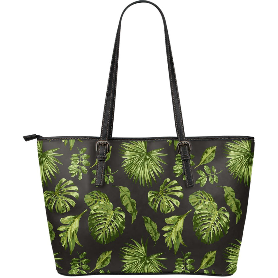 Dark Tropical Leaf Pattern Print Leather Tote Bag GearFrost