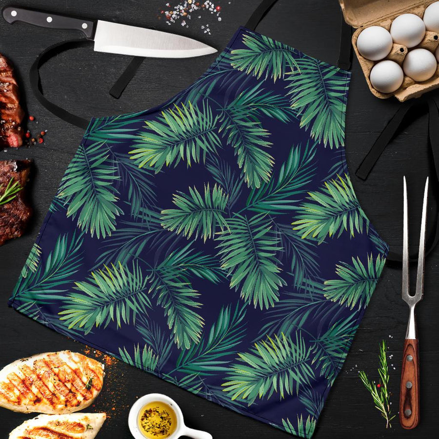 Dark Tropical Palm Leaf Pattern Print Men's Apron GearFrost