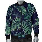 Dark Tropical Palm Leaf Pattern Print Men's Bomber Jacket GearFrost