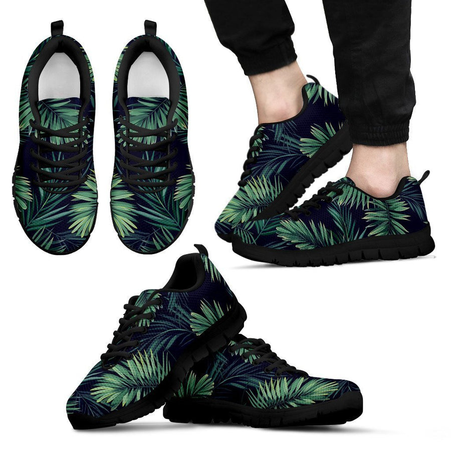 Dark Tropical Palm Leaf Pattern Print Men's Sneakers GearFrost