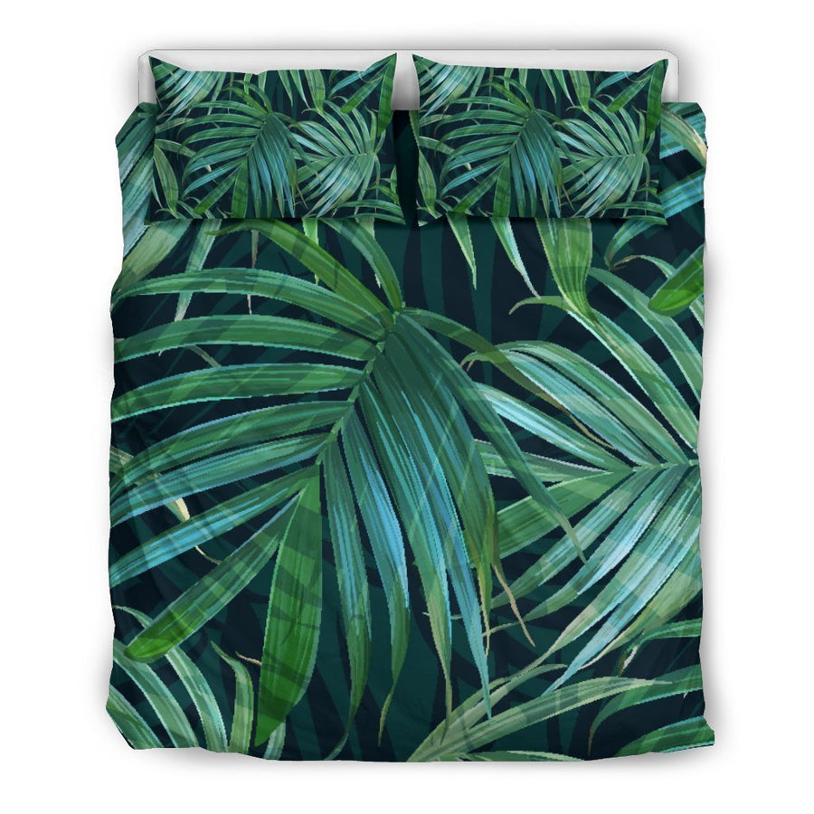 Dark Tropical Palm Leaves Pattern Print Duvet Cover Bedding Set GearFrost