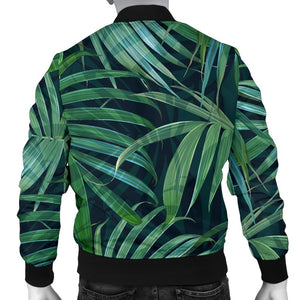 Dark Tropical Palm Leaves Pattern Print Men's Bomber Jacket GearFrost