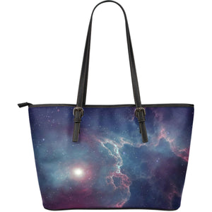 Dark Universe Galaxy Deep Space Print Leather Tote Bag GearFrost