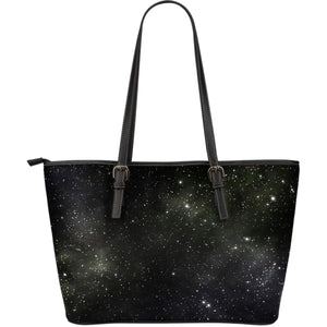Dark Universe Galaxy Outer Space Print Leather Tote Bag GearFrost