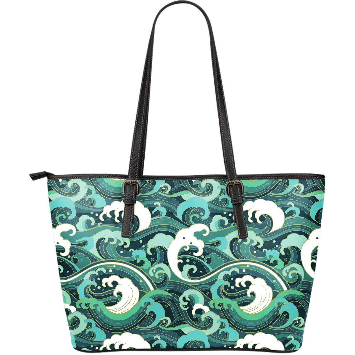 Deep Sea Wave Surfing Pattern Print Leather Tote Bag GearFrost