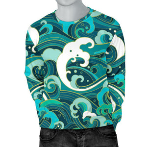 Deep Sea Wave Surfing Pattern Print Men's Crewneck Sweatshirt GearFrost
