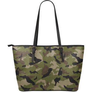 Desert Green Camouflage Print Leather Tote Bag GearFrost