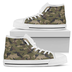 Desert Green Camouflage Print Men's High Top Shoes GearFrost