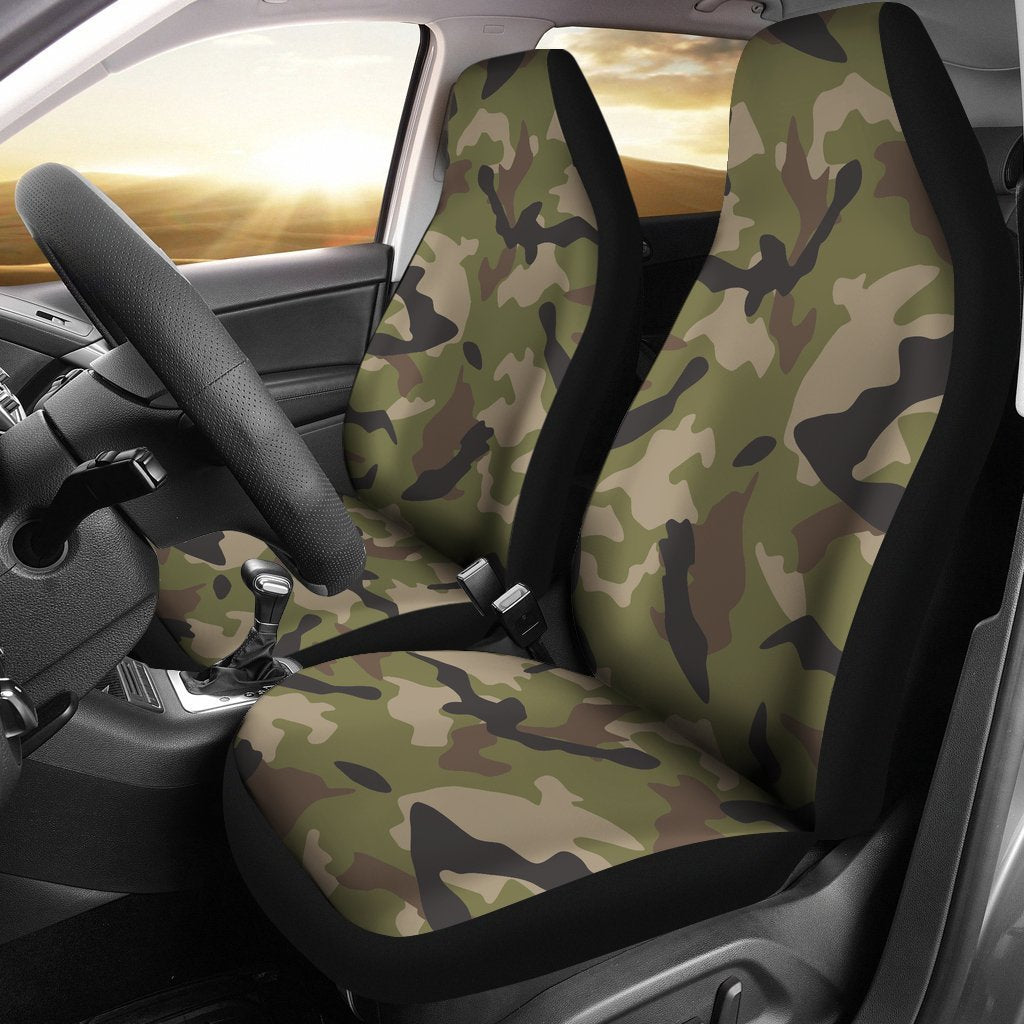 Desert Green Camouflage Print Universal Fit Car Seat Covers GearFrost