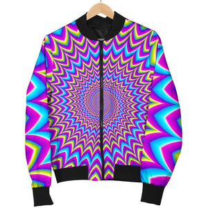 Dizzy Spiral Moving Optical Illusion Men's Bomber Jacket GearFrost