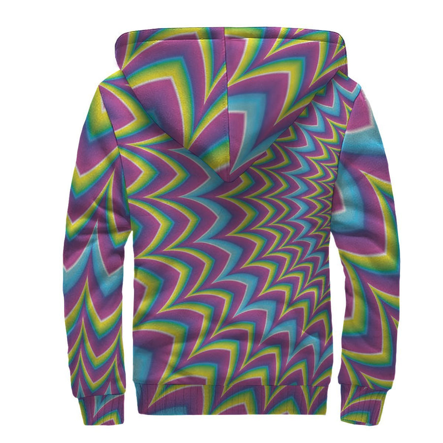 Dizzy Spiral Moving Optical Illusion Sherpa Lined Fleece Hoodie GearFrost