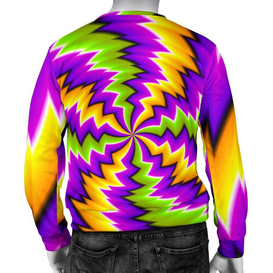 Dizzy Vortex Moving Optical Illusion Men's Crewneck Sweatshirt GearFrost