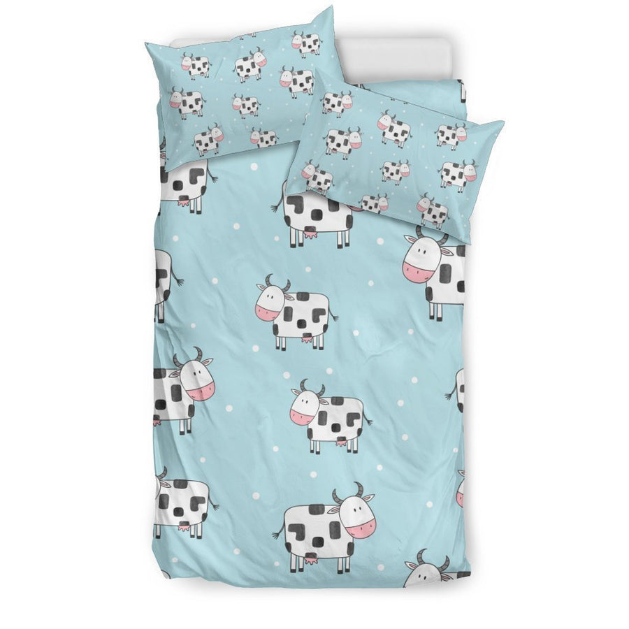 Doodle Cow Pattern Print Duvet Cover Bedding Set GearFrost