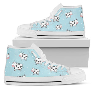 Doodle Cow Pattern Print Women's High Top Shoes GearFrost