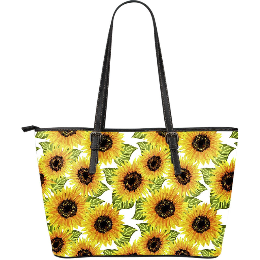 Doodle Sunflower Pattern Print Leather Tote Bag GearFrost