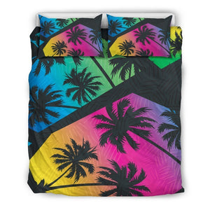 EDM Beach Palm Tree Pattern Print Duvet Cover Bedding Set GearFrost