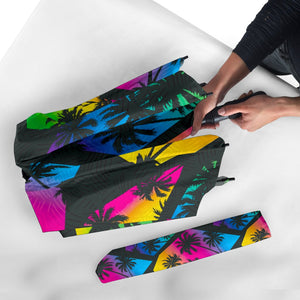 EDM Beach Palm Tree Pattern Print Foldable Umbrella GearFrost