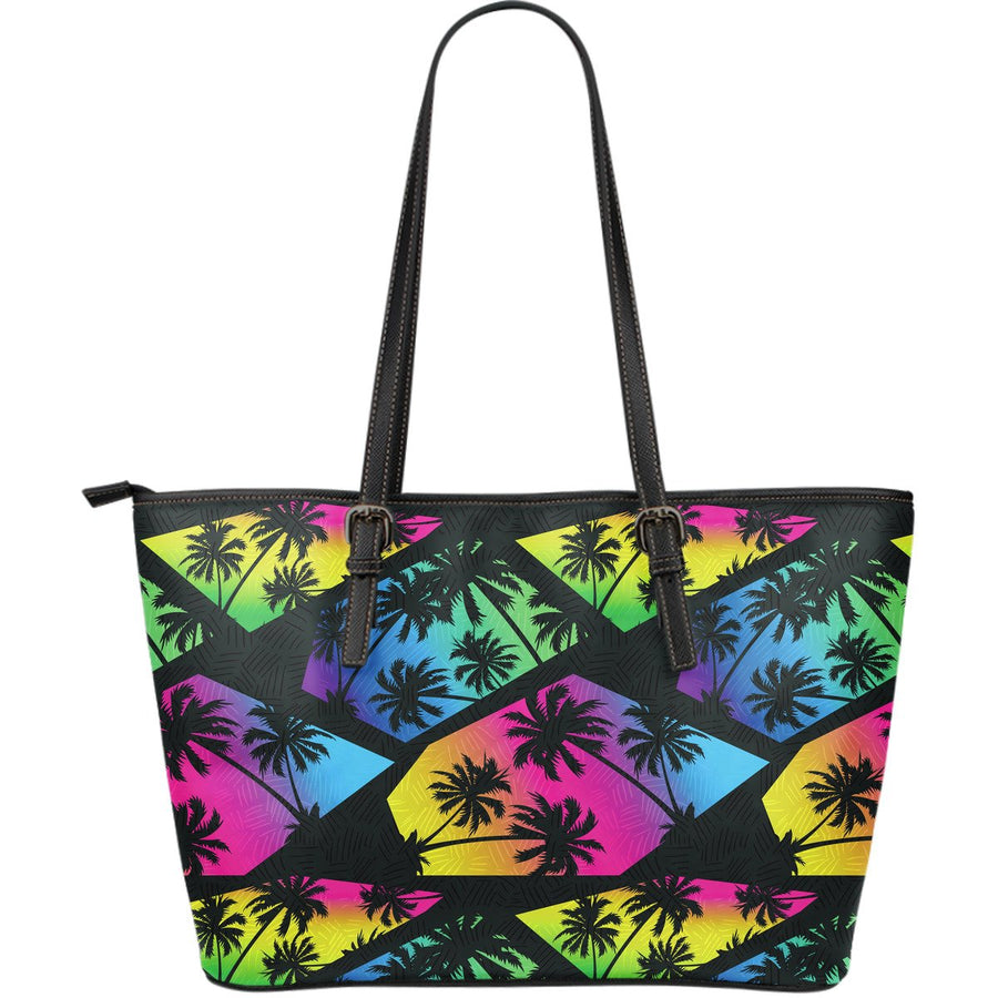 EDM Beach Palm Tree Pattern Print Leather Tote Bag GearFrost