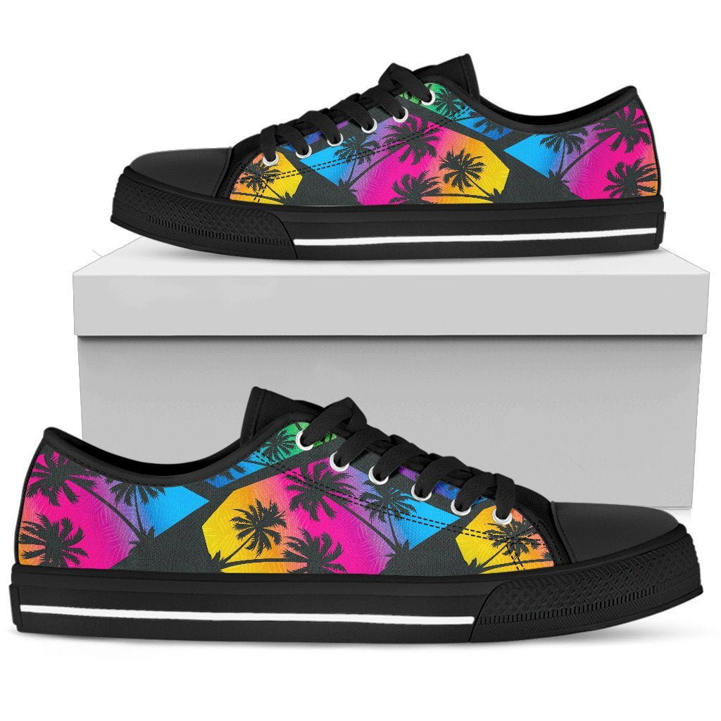 EDM Beach Palm Tree Pattern Print Men's Low Top Shoes GearFrost