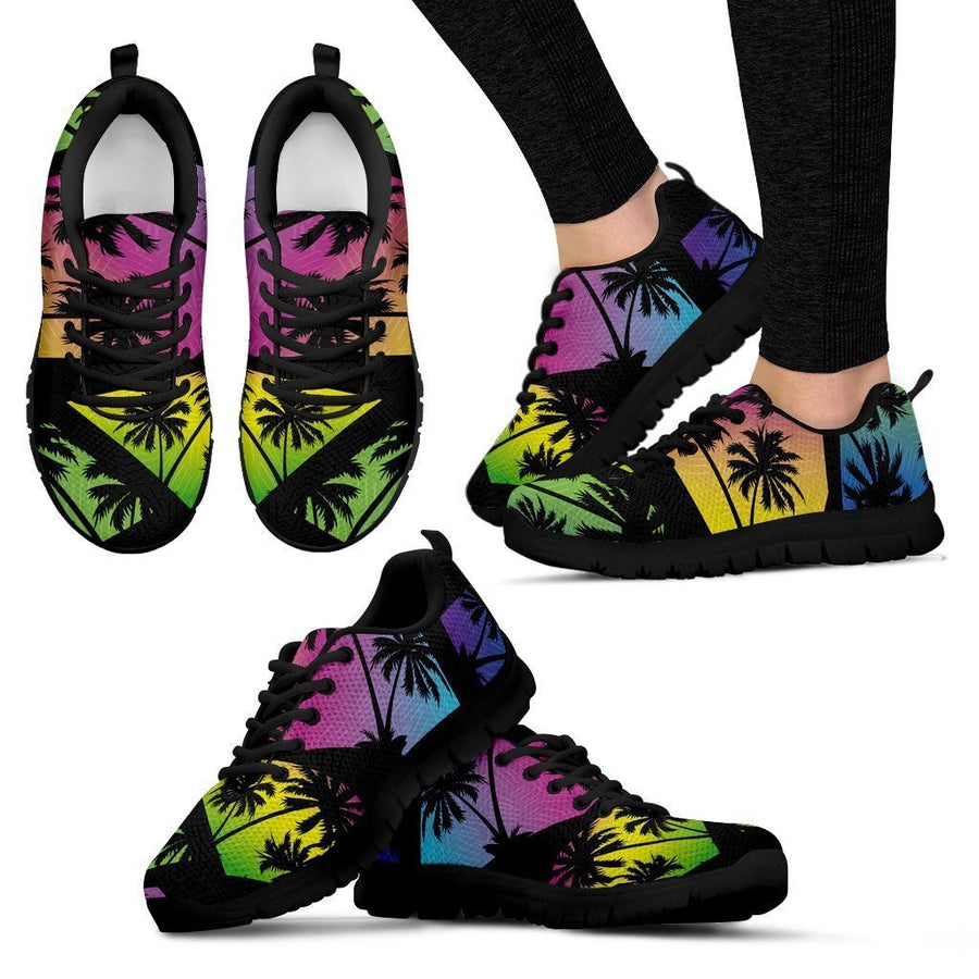 EDM Beach Palm Tree Pattern Print Women's Sneakers GearFrost