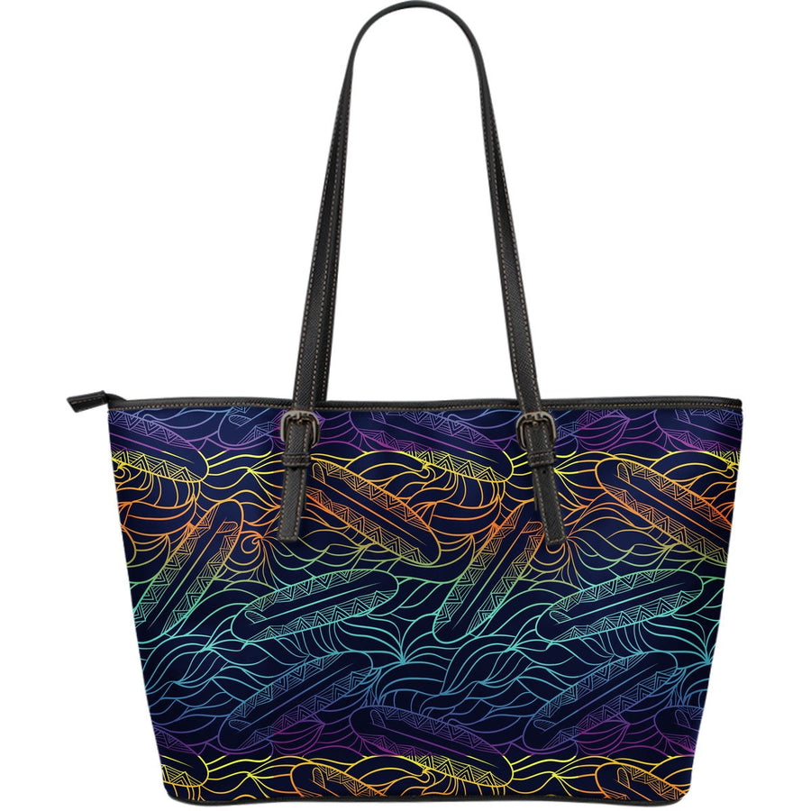 EDM Surfing Wave Pattern Print Leather Tote Bag GearFrost