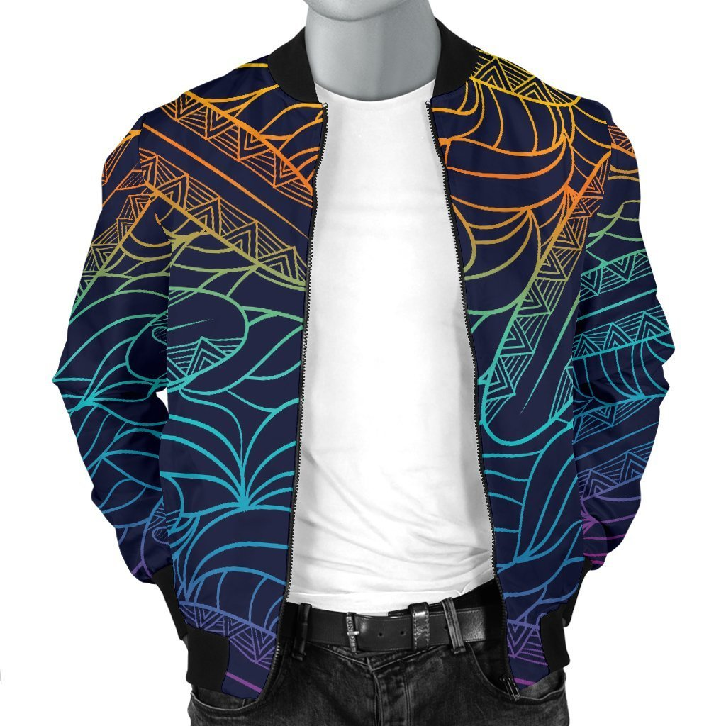 EDM Surfing Wave Pattern Print Men's Bomber Jacket GearFrost