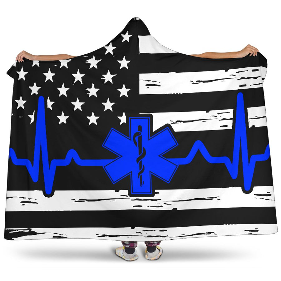 EMT/Paramedic Heartbeat Flag Hooded Blanket GearFrost