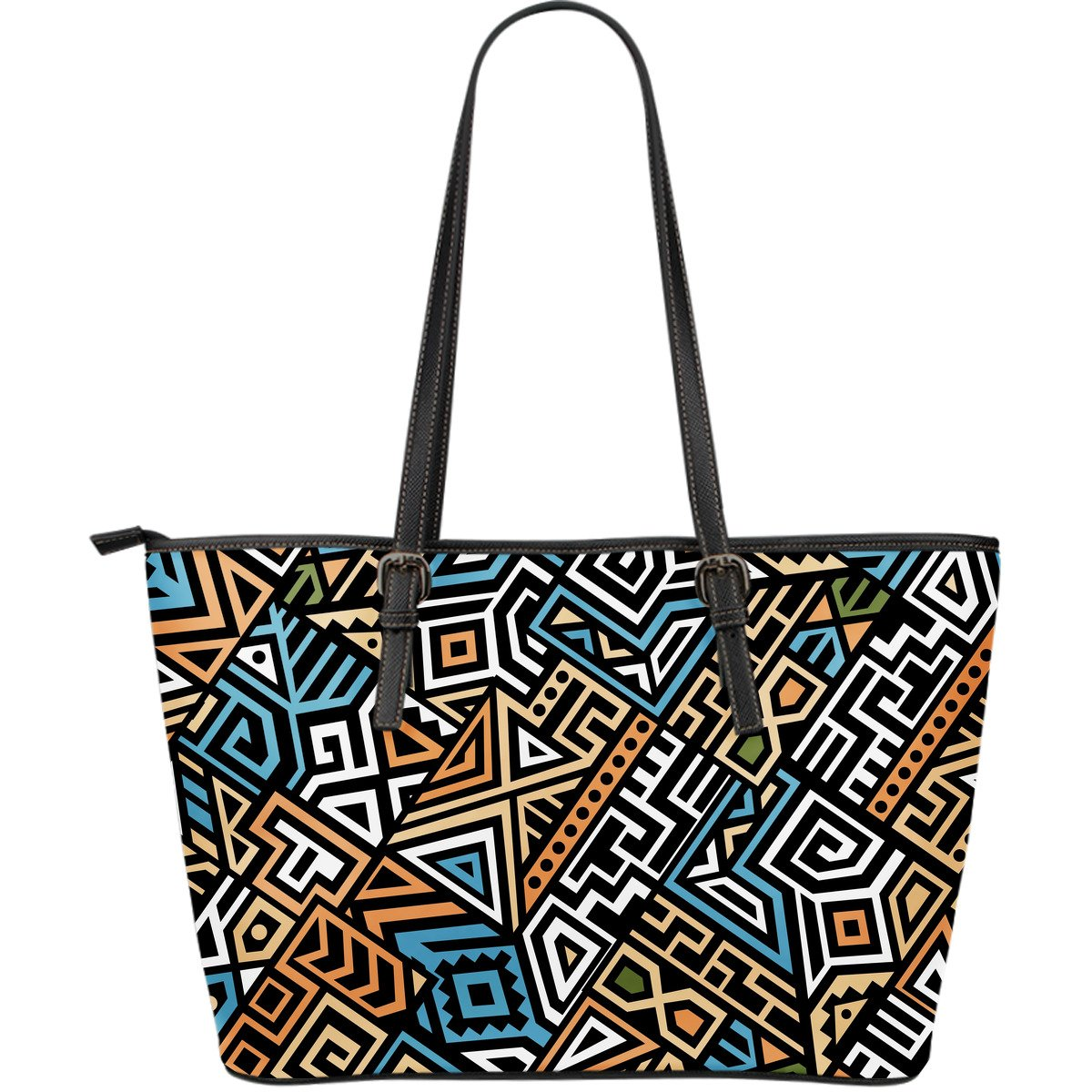 Ethnic Aztec Geometric Pattern Print Leather Tote Bag GearFrost