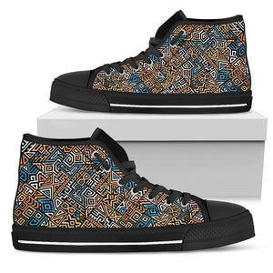 Ethnic Aztec Geometric Pattern Print Men's High Top Shoes GearFrost