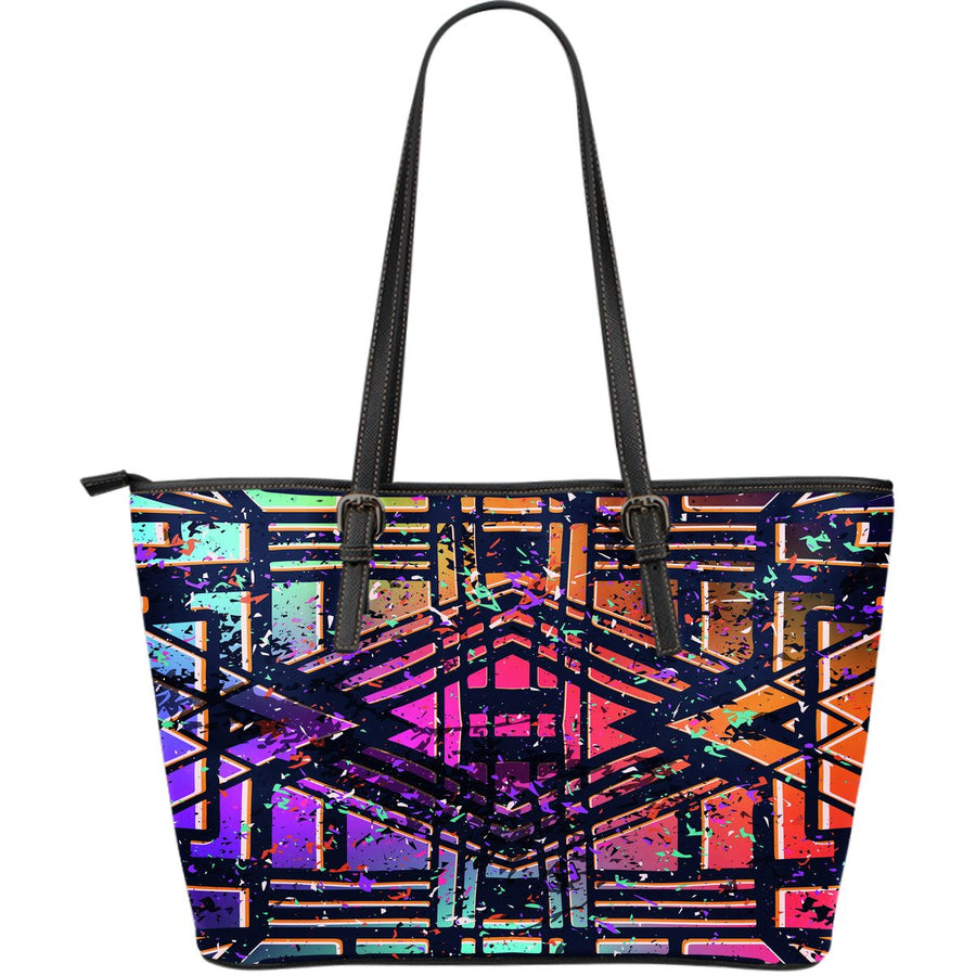 Ethnic Aztec Grunge Trippy Print Leather Tote Bag GearFrost